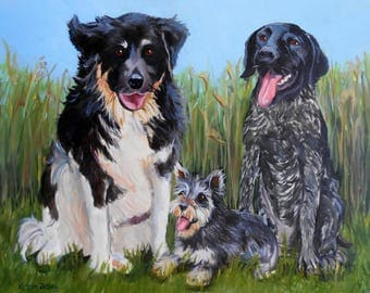 Custom Pet Portrait Painting, Original Fine Art Oils on Canvas Dog Portrait Gift Certificate