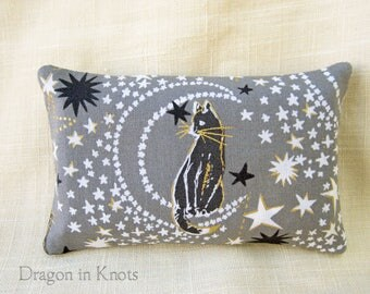 Cosmic Cat Pocket Tissue Holder - Gray Starry To-go Facial Tissue Cover, Night Sky, Moon and Stars, Travel-sized Cotton Fabric Pouch