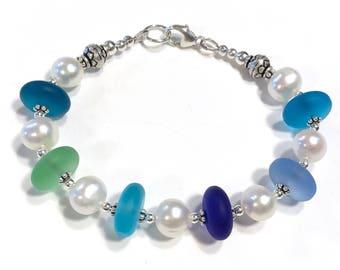 Coastal Bracelet  Pearl Blue and Green Sterling Silver