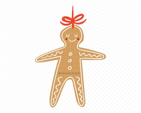 Gingerbread Man Clipart / Hand Drawn Gingerbread Cookie Artwork / A0001