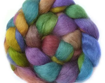 WENSLEYDALE roving top handdyed spinning fibre 3.5 oz