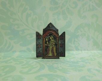 Dollhouse Miniature Reliquary with Renaissance Lady - A