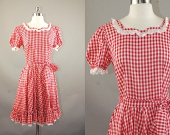 Vtg 60's western Gingham Red & White Cotton Dress w/Lace, Swing Skirt Hand-Made, Country Farm Girl, Daisy May Sz S