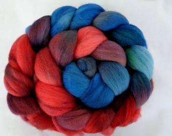 Merino wool roving, handpainted roving, needle felting wool, spinning fiber, merino wool roving, merino wool tops, red, blue,21 micron,3.5oz