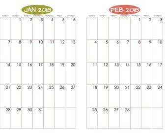 Bullet Journal Printable Calendar - Ovals - 2018 - for Moleskine or Leuchtturm