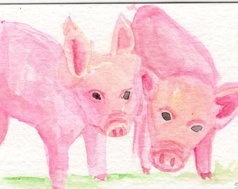 ACEO Happy Pigs watercolors paintings original, Happy Piglets, Farmhouse decor