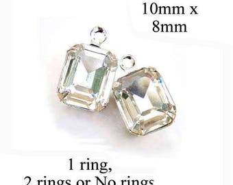 Crystal Clear Glass Beads - 10x8 Octagon - Tiny Crystal Rhinestone Pendant or Earring Drops - Jewelry Supply - One Pair