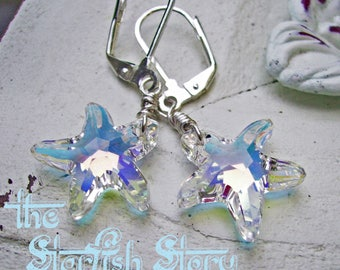 Swarovski Crystal Starfish Earrings in Iridescent - Romantic earrings - Beach Inspired Earrings, Sterling Silver and Swarovski Crystal