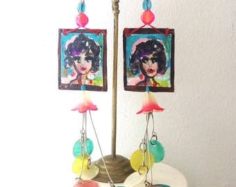 Painted Portrait Earrings, Hand Painted, Tiny Canvas, Boho Earrings, Pretty, Dangle Earrings, Art, Body Art