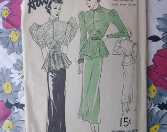 Vintage 1930s Pattern Dress Advance 1677 Pussy Bow Nipped Waist Large Sleves B30