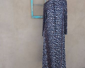 Vintage 1970s Caftan Leopard Print Lounging Hostess 70s Maxi Dress Butterfield 8 Jungle Cat