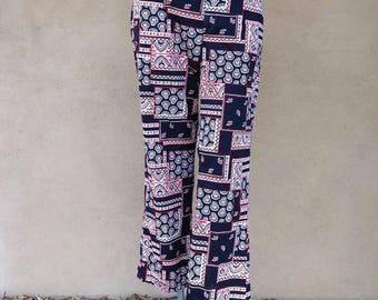 Vintage 1960s Mens Pants 60s Slacks Hippie Pants Paisley Patchwork Resort Wear 34 x 29.5