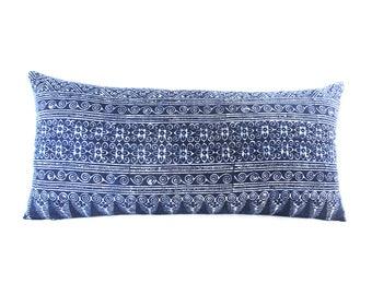 Flower Mix Pattern Blue Batik Indigo Hmong Textile Linen Lumbar Pillow - Boho Linen Decorative Pillow- Down Filler Included