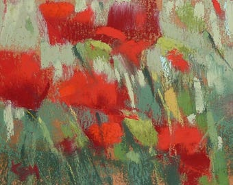 Poppy Red Poppies Landscape  mini Original Pastel Painting  Karen Margulis ATC