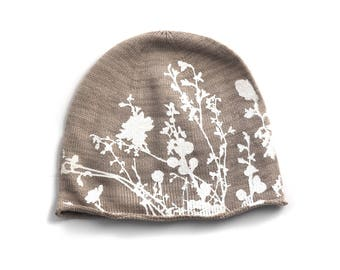 Oatmeal Knit Beanie Hand screen Printed with Flowering Branch Design - not perfect print - mens womens unisex