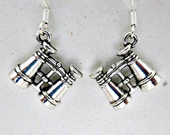 Pierced Earrings, Binocular Charm Earrings, 925 Silver Wires, Dangle Earrings, Birdwatcher Jewelry, Birdwatcher Earring, Binocular Jewelry,