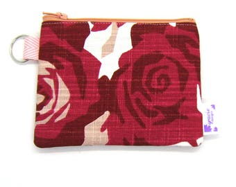 Coin Purse / Change Purse / Coin Pouch / Gadget Pouch - Red and Pink Geometric Floral