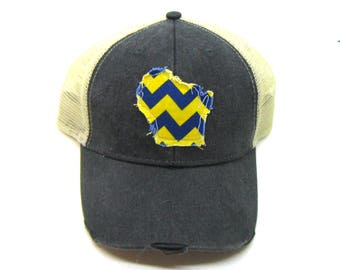 Clearance - Sale - Gift - Gracie Designs Hat - Wisconsin navy yellow applique snapback hat