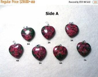 ON SALE Ruby in Zoisite Heart Pendant, Ruby in Zoisite Heart Necklace, Ruby in Zoisite Necklace, Ruby in Zoisite Pendant, Heart Pendant