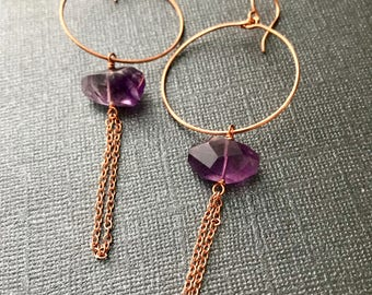 Copper and Amethyst Hoop Earrigngs with Chain