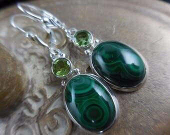 Malachite & peridot sterling silver earrings
