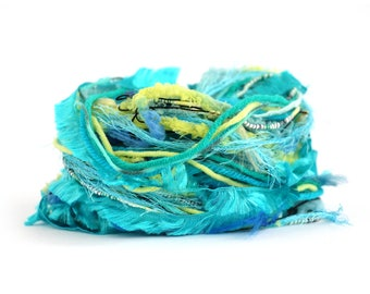Creative Yarn Ribbon Variety Pack, Mermaid's Tail, 30 metres, bright turquoise blue lime green embellishment trim, art yarn bundle
