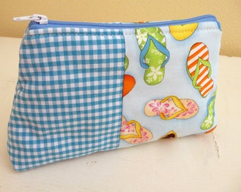 Small Summer Themed Cosmetics Bag, Zippered Pouch, Gingham accent