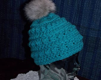 Turquoise Bobble Toboggan with Faux Fur Pom Pom