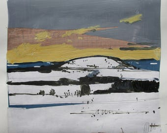 Richardson's Hill, February 16, Original Winter Landscape Collage Painting on Paper, Stooshinoff