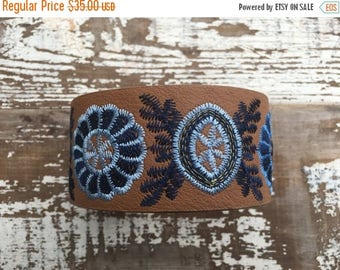CRAZY SALE- Faux Leather Cuff-Create Your Own-Embroidered Leather-Word Cuff
