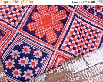 CRAZY SALE- Retro Floral Fabric--Navy and Orange-Semi Sheer