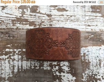40% OFF- Tooled Leather Cuff-Create Your Own-Word Cuff