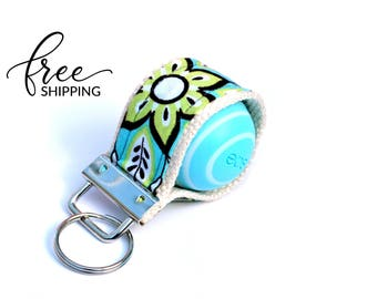LippyLoop™ EOS Holder Keychain, Grey with Turquoise and Lime Flowers  | Free Shipping