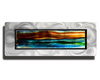 Green, Blue, Red Contemporary Abstract Metal Wall Painting, Modern Metal Art Accent, Holiday Presents, Gifts For Him - JC 530D by Jon Allen