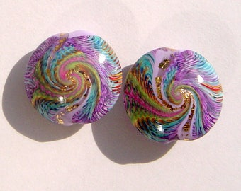 Purple Swirl Lentil Handmade Artisan Polymer Clay Lentil Bead Pair