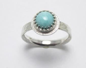 Amazonite cabochon textured halo Polished Sterling Silver gemstone ring Twisted Bark Finish 1.38ct Sz 7 1/2
