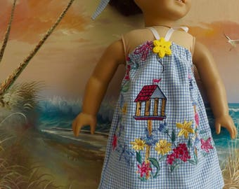 18 Inch Doll Clothes Upcycle Blue Gingham With Embroidery Accents Sun Dress or Beach Coverup With Hair Tie SALE