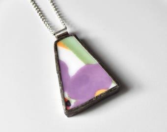 Broken China Jewelry Pendant - Purple and Green Modern