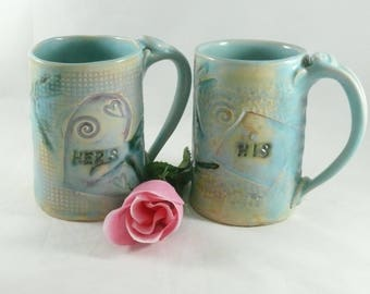 Personalized  Ceramic Mugs, His and Hers coffee cups,  pottery teacups, Couples Mugs - Mr and Mrs Handmade Unique Coffee mug