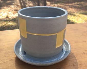 SALE PRICE Modern Gray Porcelain Planter