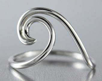 ON SALE TODAY Silver Wave Ring, Ocean Jewelry, Nautical Design, Sterling Silver Ring