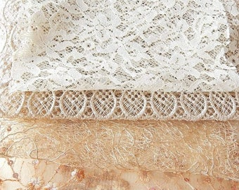 CLEARANCE - 4 gold lace net fabrics