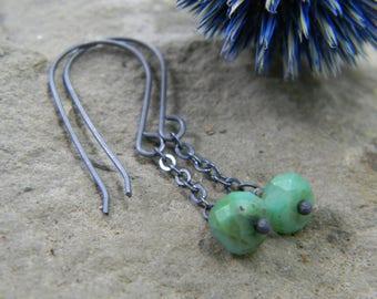 little Peruvian opal dangle earrings - oxidized sterling silver - rustic