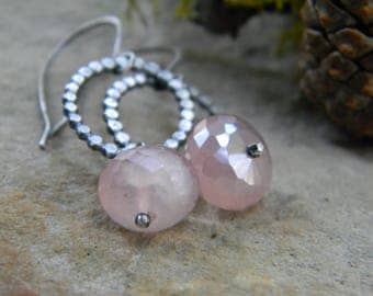 soft pink chalcedony earrings - oxidized sterling silver - rustic, dangle earrings