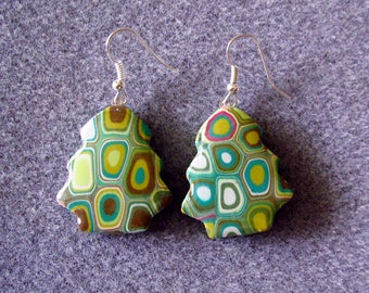 Christmas Trees Polymer Clay Resin Klimt Retro Avocado Green Earrings
