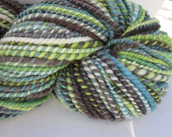 Hand Spun  Hand Dyed Merino Lambs Wool Yarn (Spring Greens) 160 yards