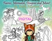 Printable Instant Download PDF- Whimsical World #3 - Mythical Sweetness Coloring Book - Fairies, Dragons, Mermaids, Furry Friends