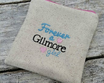 Gilmore girls pouches. Forever a Gilmore girl pouch. Gilmore girls zipper purse. Pink and blue embroidered pouch. Great gift idea