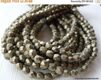 25% OFF Sale 4mm Czech Beads - Metallic Suede Gold Firepolished Faceted 50 pcs (G - 65)