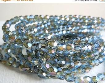 25% OFF Sale Summer Sale 4mm Czech Beads - Sapphire Celsian Faceted Round - 50 pcs (G - 47)